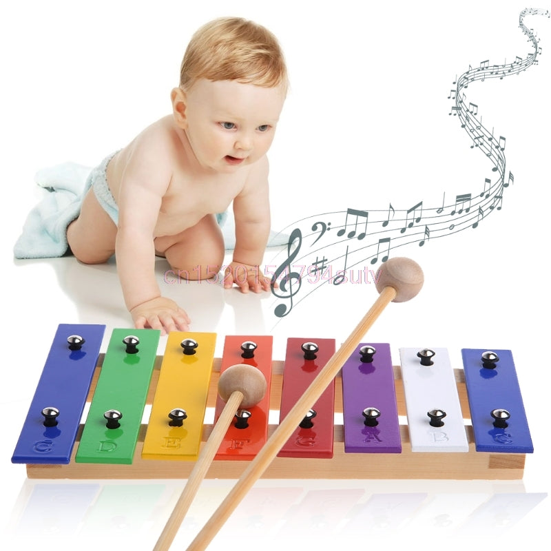 Glockenspiel Musical Instrument Music Toy 8 Notes Wooden Children Kid #H055#
