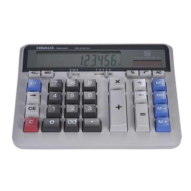 Large Computer Electronic Calculator Counter Solar & Battery Power 12 Digit Display Multi-functional Big Button