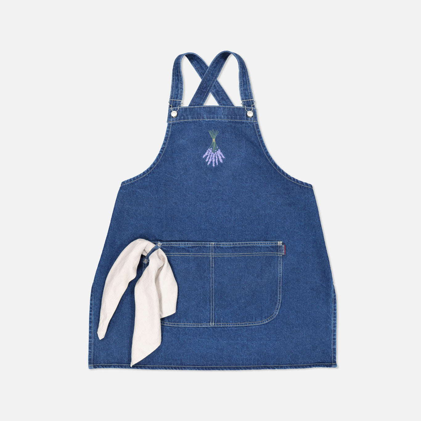 Crossback Denim Apron – Lavender Bunch
