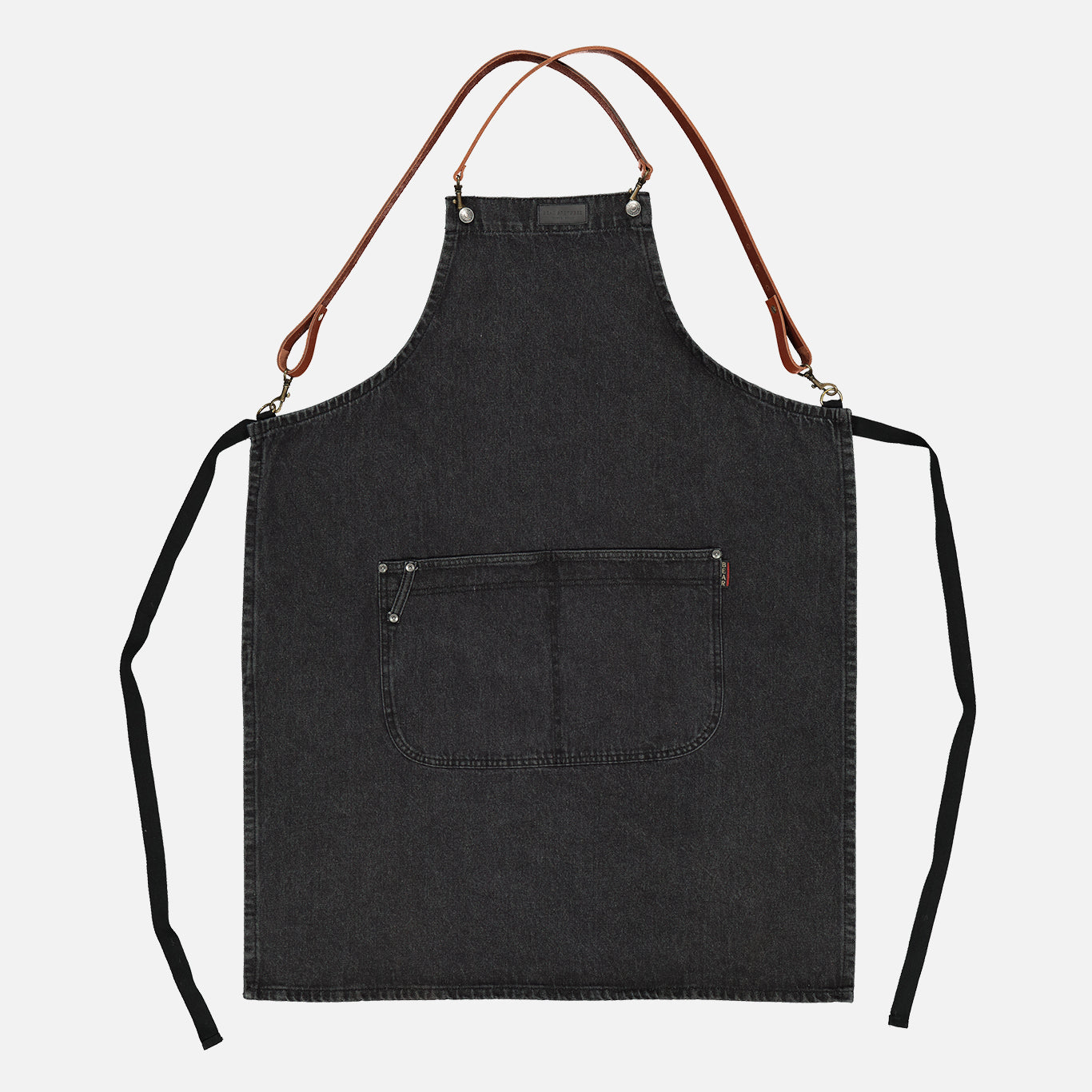 Original Black Denim Apron with Tan Leather Straps