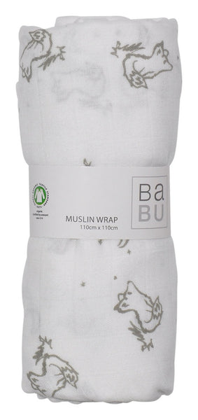 Muslin Wrap Grey Fox