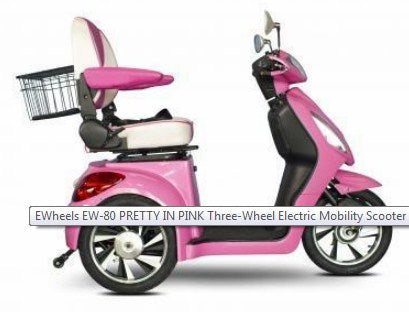EWheels EW-80 PRETTY IN PINK Three-Wheel Electric Mobility Scooter