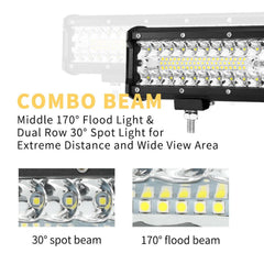 12inch CREE LED Work Light Bar Spot Flood OffRoad Fog Driving 4WD 4x4 Reverse