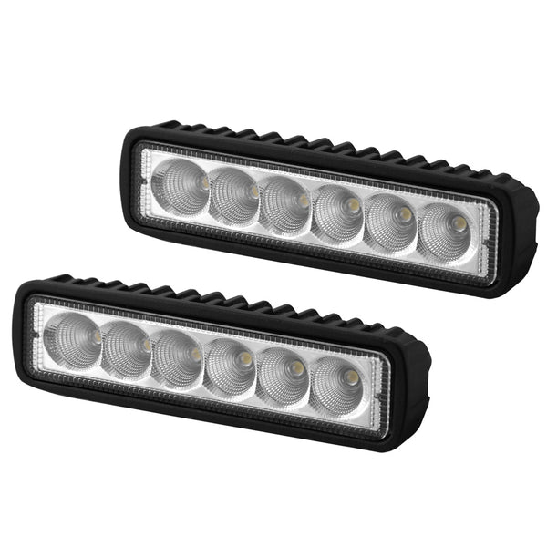 2x 6inch 18W LED Light Bar Driving Work Lamp Flood Truck Offroad UTE 4WD