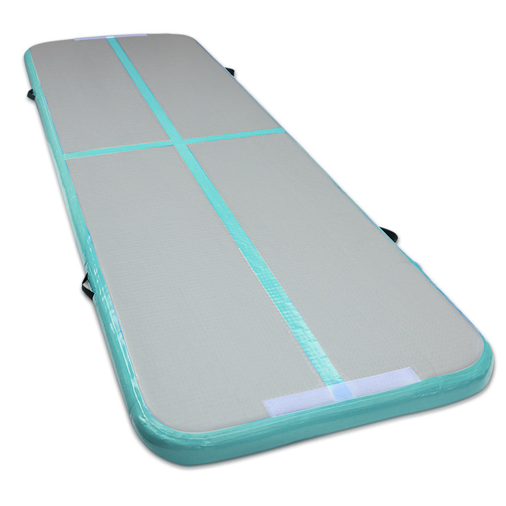 Everfit Inflatable Air Track Mat Gymnastic Tumbling 3m x 100cm - Mint & Grey
