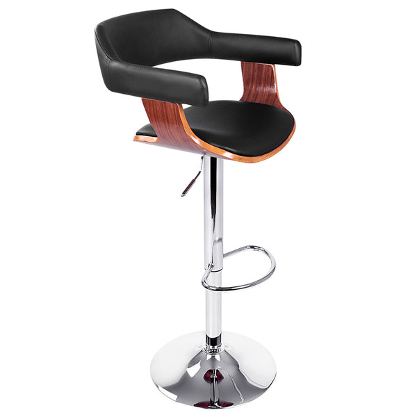 PU Leather Wooden Kitchen Bar Stool Black
