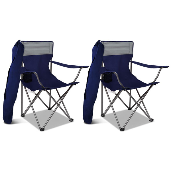 WEISSHORN Set of 2 Folding Camping Chairs Armchair Garden Fishing Chair Navy