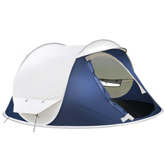 Weisshorn 4 Person Pop Up Canvas Camping Tent - Navy & Grey