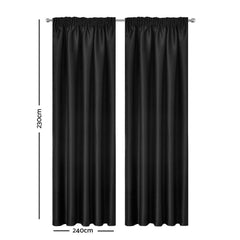 Artqueen 2X Pinch Pleat Pleated Blockout Curtains Black 240cmx230cm