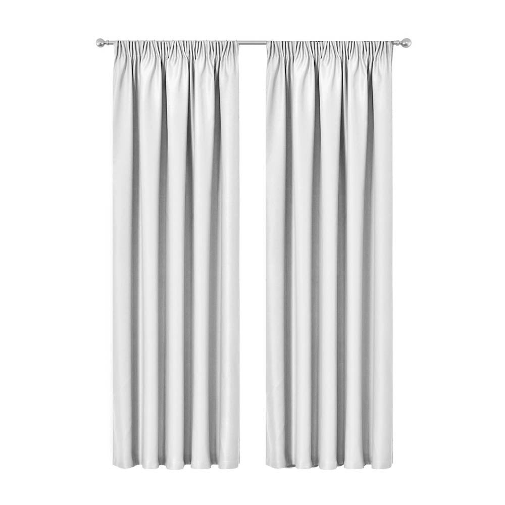 Artqueen 2X Pinch Pleat Pleated Blockout Curtains White 300cmx230cm