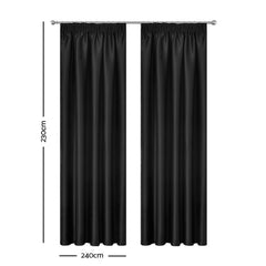 Art Queen 2 Pencil Pleat 240x230cm Blockout Curtains - Black