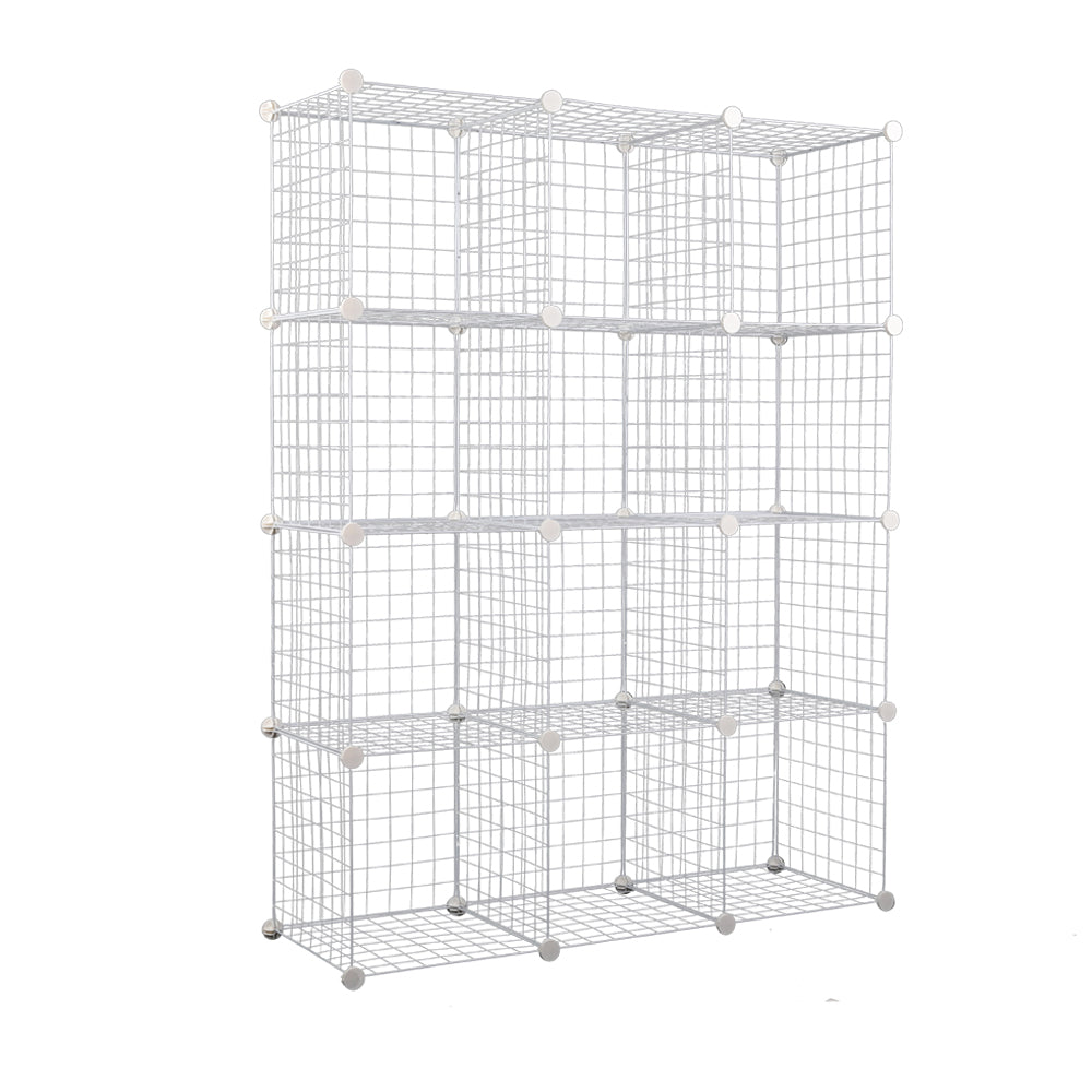 12 Cube Metal Wire Storage Cabinet - White