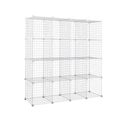 16 Cube Metal Wire Storage Cabinet - Black