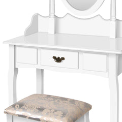 Artiss Single Drawer Dressing Table with Mirror - White