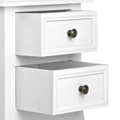 Artiss Vintage Style Bedside Side Table with 2 Drawers - White
