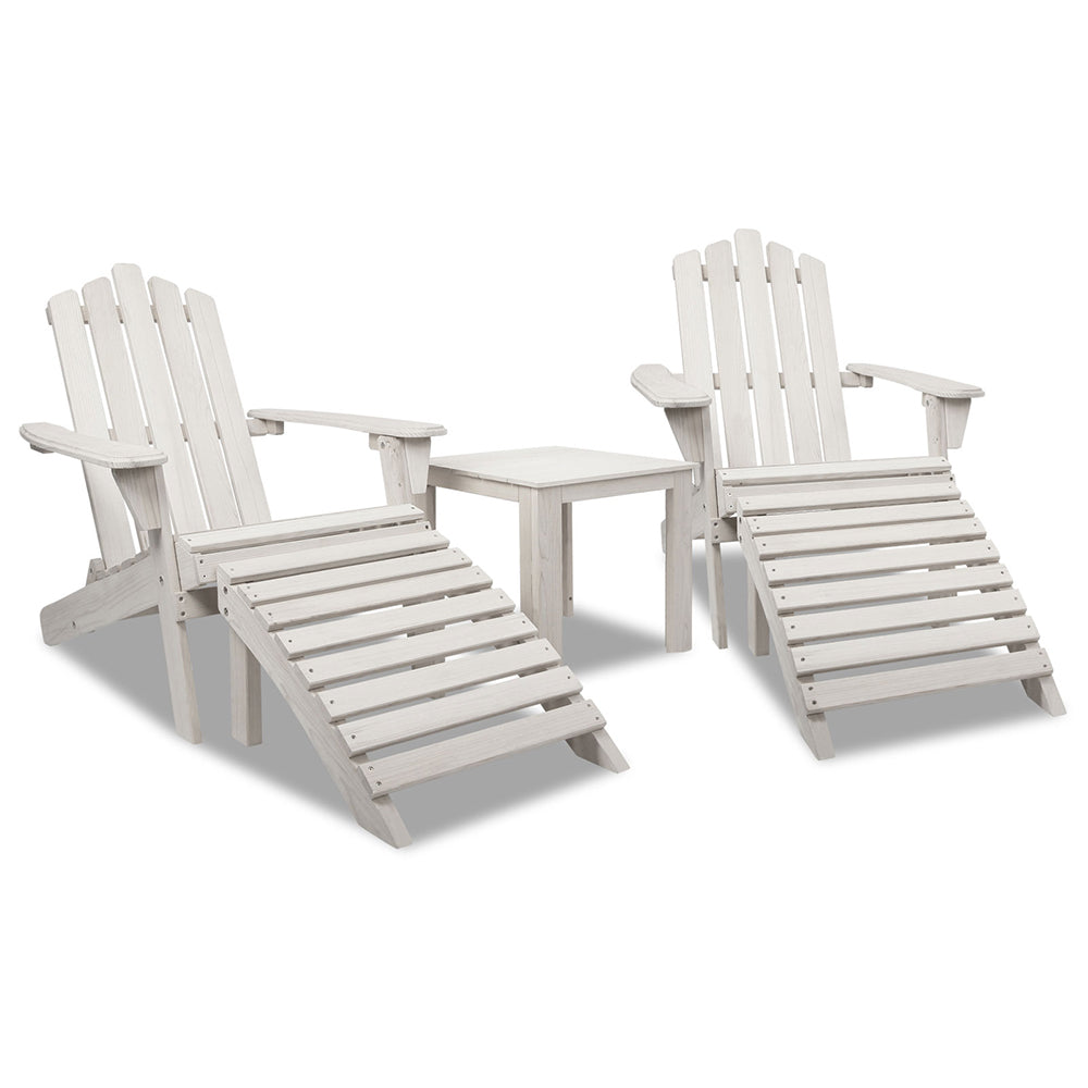 Gardeon 5pc Outdoor Wooden Adirondack Beach Chair and Table Set - Beige White