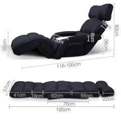 Artiss Adjustable Lounger with Arms - Black