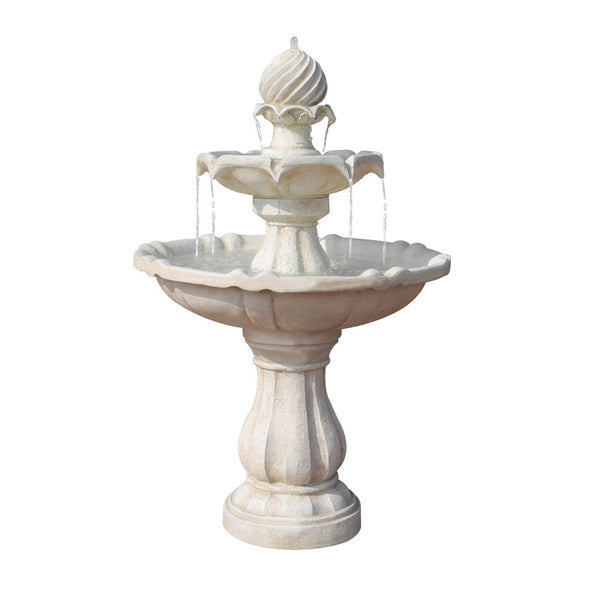 Solar Power Three-Tier Water Fountain Ivory