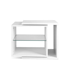 Artiss Side Table Swivel Bedside Table Coffee Table Glass Shelf White
