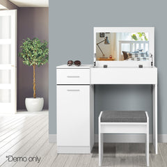 Dressing Table with Mirror - White