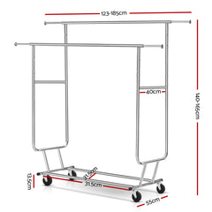 6FT Garment Rack Double Rail Commercial Clothes Rolling Collapsible Hanger Stand