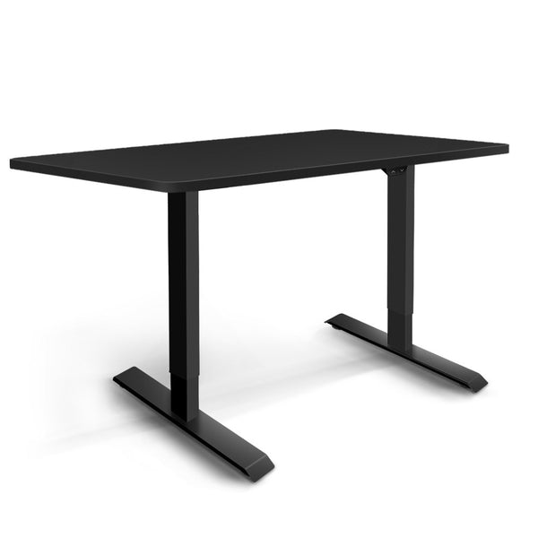 Electric Motorised Height Adjustable Standing Desk - Black Frame with 140cm Black Top