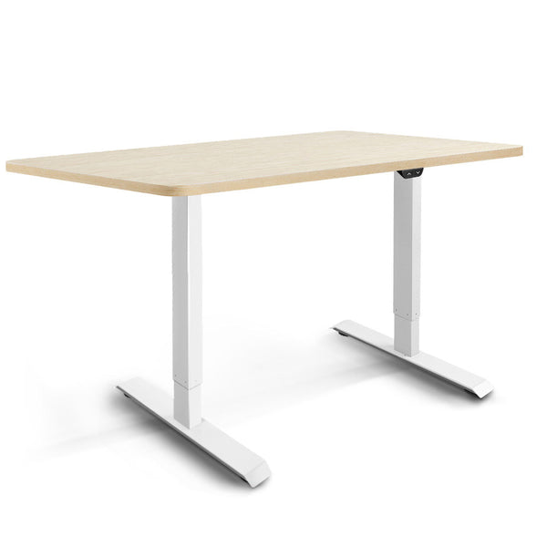 Electric Motorised Height Adjustable Standing Desk - White Frame with 140cm Natural Oak Top