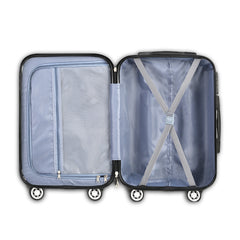 Wanderlite 3 Piece Lightweight Hard Suit Case Luggage Silver