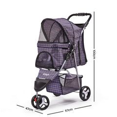 i.Pet 3 Wheel Pet Stroller - Blue