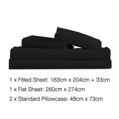 Giselle Bedding King Size 4 Piece Micro Fibre Sheet Set - Black