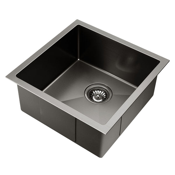 Kitchen Sink with Waste Strainer Black - 44 x 44cm