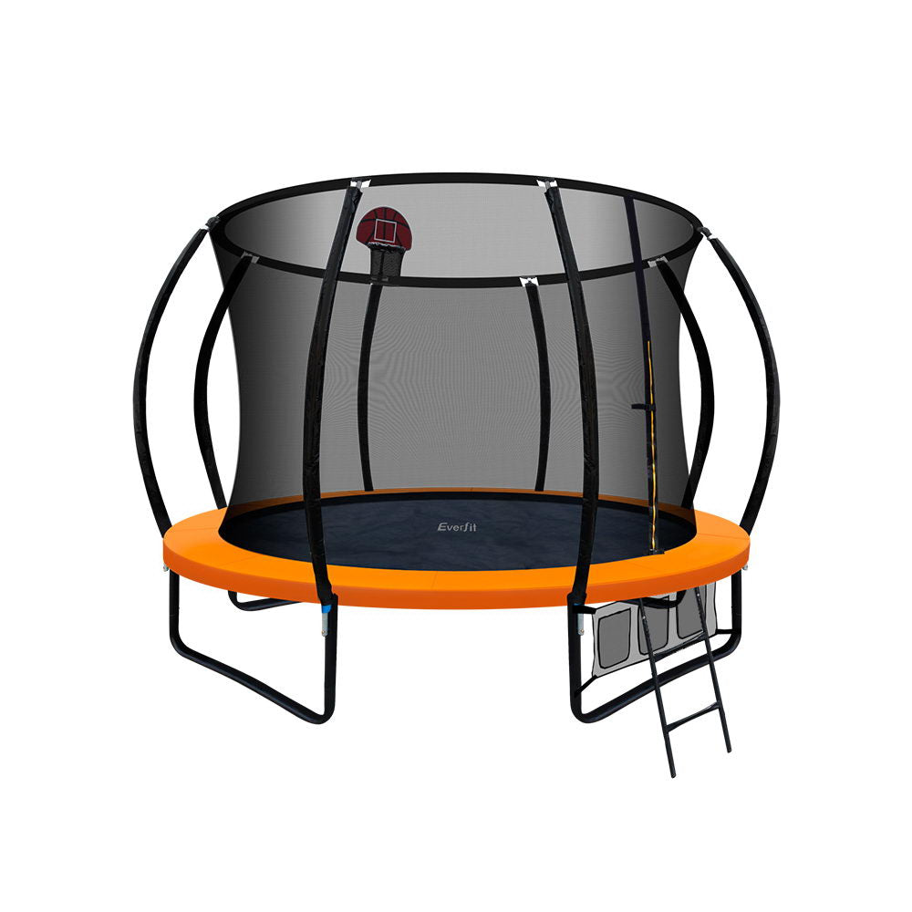 Everfit 10FT Trampoline With Basketball Hoop - Orange