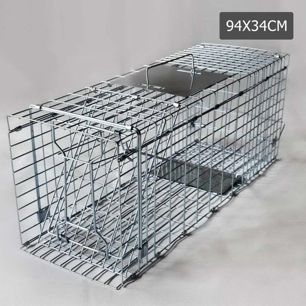 Humane Animal Trap Cage 94 x 34 x 36cm Silver