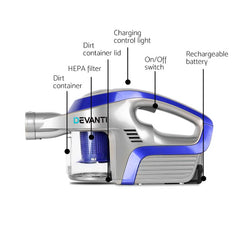Devanti Cordless 150W Handstick Vacuum Cleaner - Grey and Blue