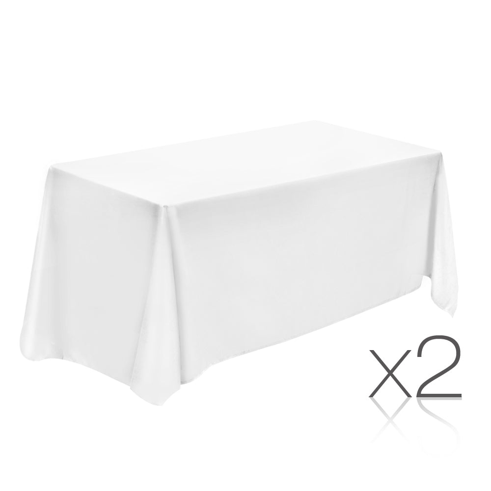 Set of 2 152 x 259 Table Cloths - White