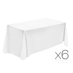 Set of 6 152 x 259 Table Cloths - White