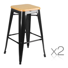 Set of 2 Replica Tolix Kitchen Bar Stool Bamboo Seat 66cm Black