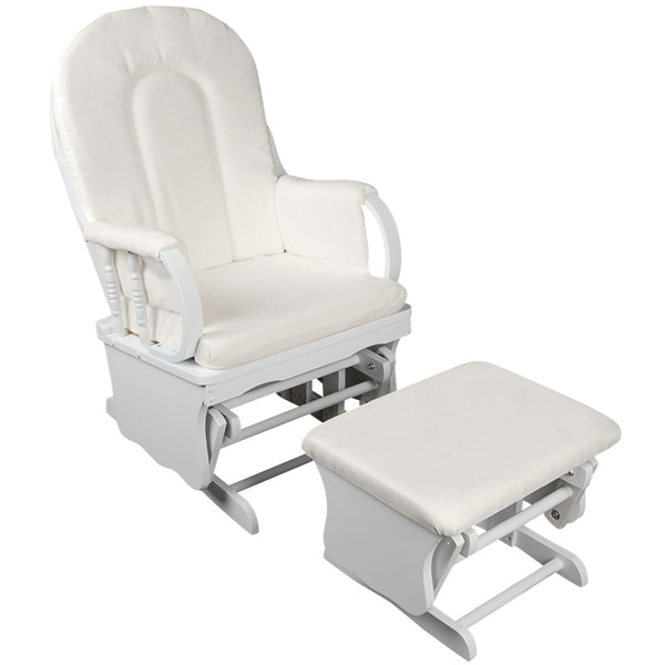 Cuddly Baby Breast Feeding Sliding Glider Chair with Ottoman - White