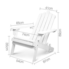 Gardeon 5 Piece Outdoor Wooden Adirondack Beach Chair and Table Set - White