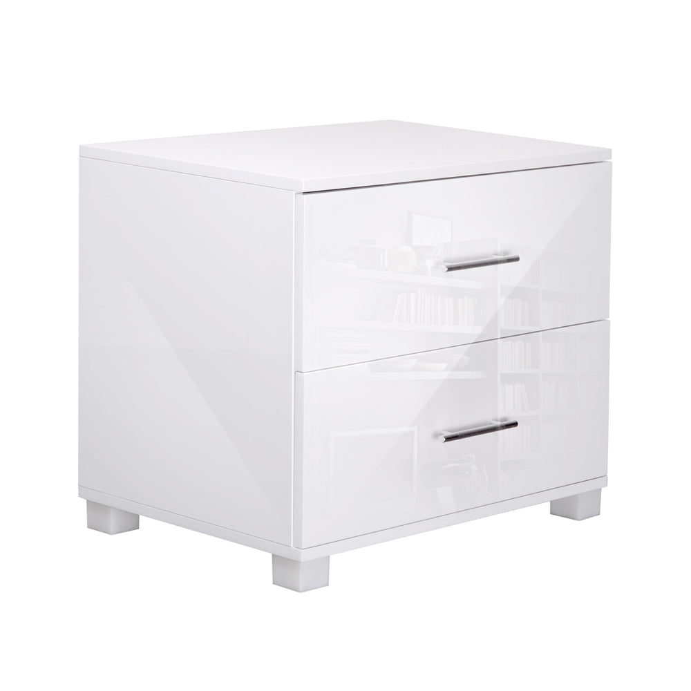 Artiss High Gloss Two Drawers Bedside Table - White