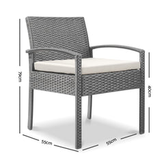 Gardeon Outdoor Furniture Bistro Wicker Chair Grey