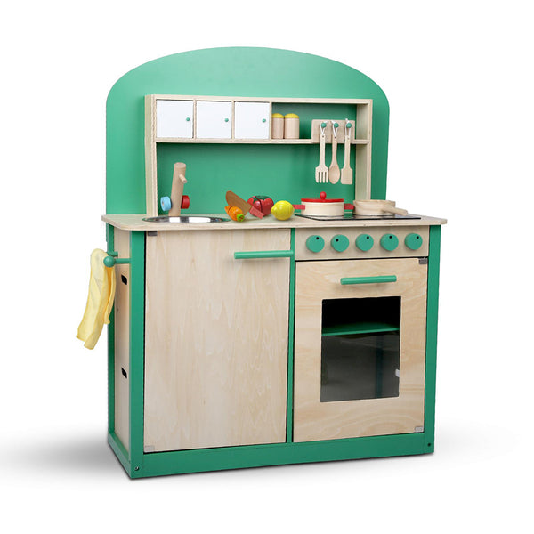 Keezi 8 Piece Kids Kitchen Play Set - Natural & Green