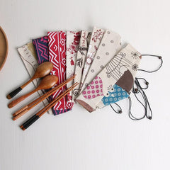 1 Pc Portable Metal Straw Bags Colorful Resuable Straw Linen Storage Bag Pouch Chopsticks Spoon Fork Tableware Bag Pockets