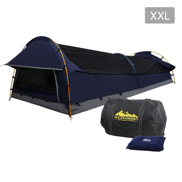 Weisshorn XXL King Single Swag Camping Swag Canvas Tent -  Dark Navy