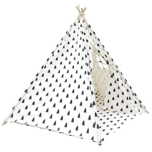 5 Poles Teepee Tent w/ Storage Bag Black White