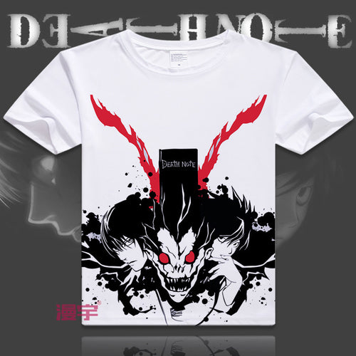 Japanese manga Death Note T-Shirts anime shirt of Light Yagami and L Lawliet, Awesome Printing Shirt Japan,