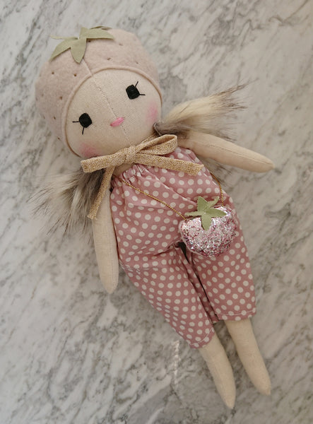 Wonderforest Co Strawberry Doll - Pink Dotty Playsuit and Strawberry bag