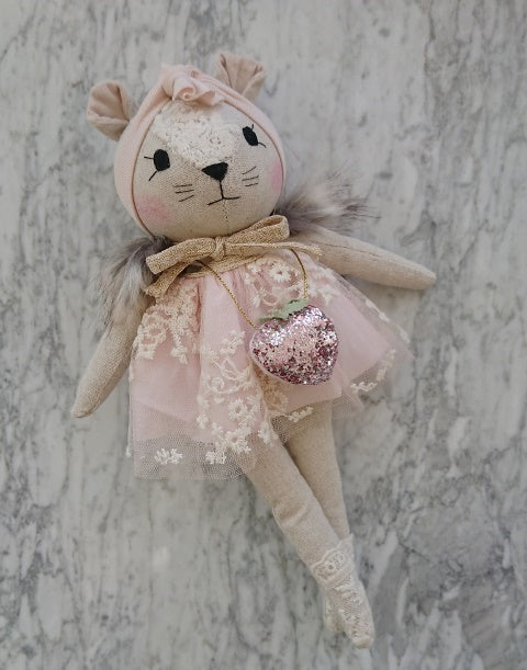 Mini Winther Co Mouse Doll - Pink with Strawberry Bag