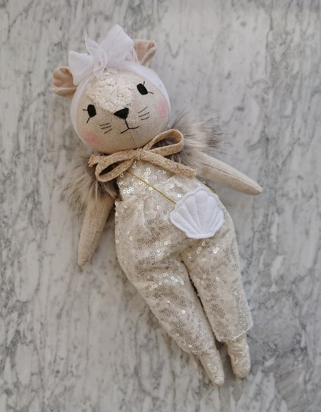 Wonderforest Co Mouse Doll - Sequin Playsuit and Shell bag