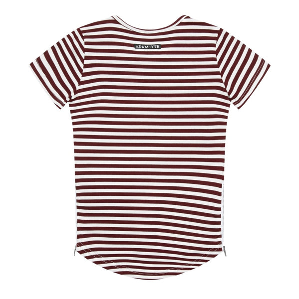 Adam Yve Sylvester Side Zip Tee - Burgundy Stripe